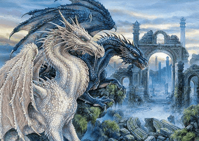 Square Drill 20x30 Cm / 8x12 Inch Mystical Dragons Diamond Painting