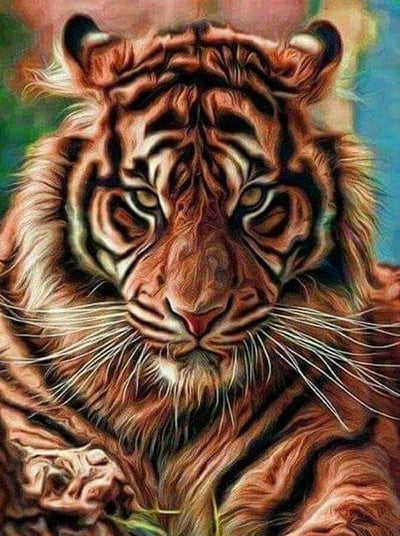 Square Drill 25x30 Cm / 10x12 Inch Angry Tiger Square Diamond Painting