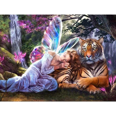 Square Drill 30x40 Cm / 12x16 Inch Clearance - Bubble Fairy & Tiger 5D Square Diamond Painting