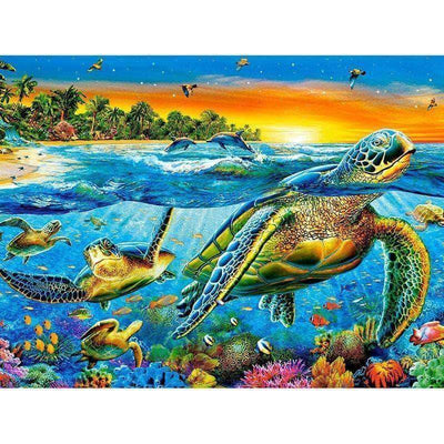 Square Drill 30x40 Cm / 12x16 Inch Clearance - Sea Turtle 5D Square Diamond Painting