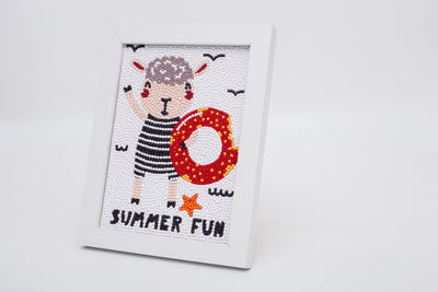 "Summer Fun With Sheepy Diamond Painting With Frame 6"" x 8"" (15cm x 20cm) / Special Shaped"