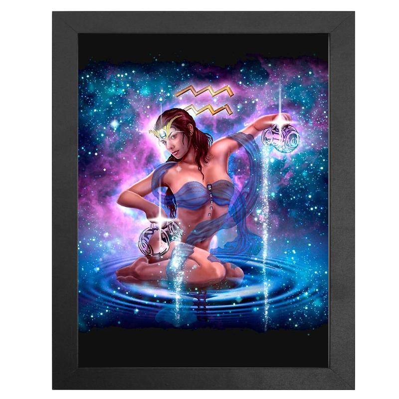 "The Aquarius Zodiac Sign Diamond Painting With Frame 12"" x 16"" (30cm x 40cm) / Special Shaped"