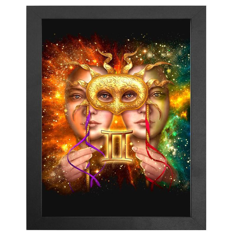 "The Gemini Zodiac Sign Diamond Painting With Frame 12"" x 16"" (30cm x 40cm) / Special Shaped"