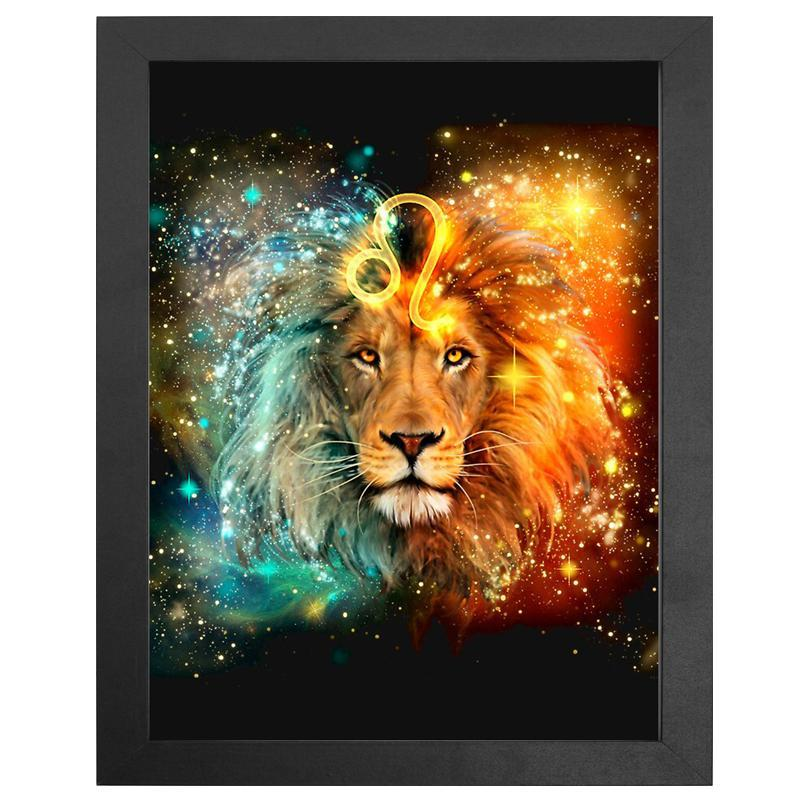 "The Leo Zodiac Sign Diamond Painting With Frame 12"" x 16"" (30cm x 40cm) / Special Shaped"