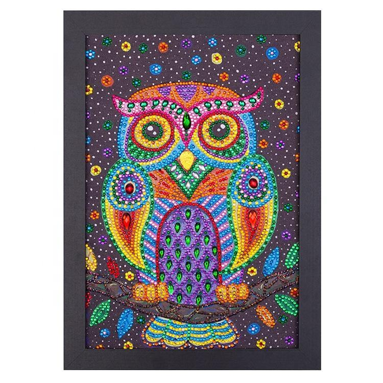 "The Rainbow Owl Diamond Painting With Frame 8"" x 12"" (20cm x 30cm) / Special Shaped"
