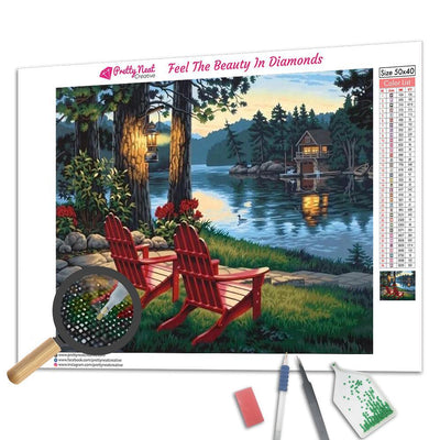 Two Chairs Beside The Lake Diamond Painting