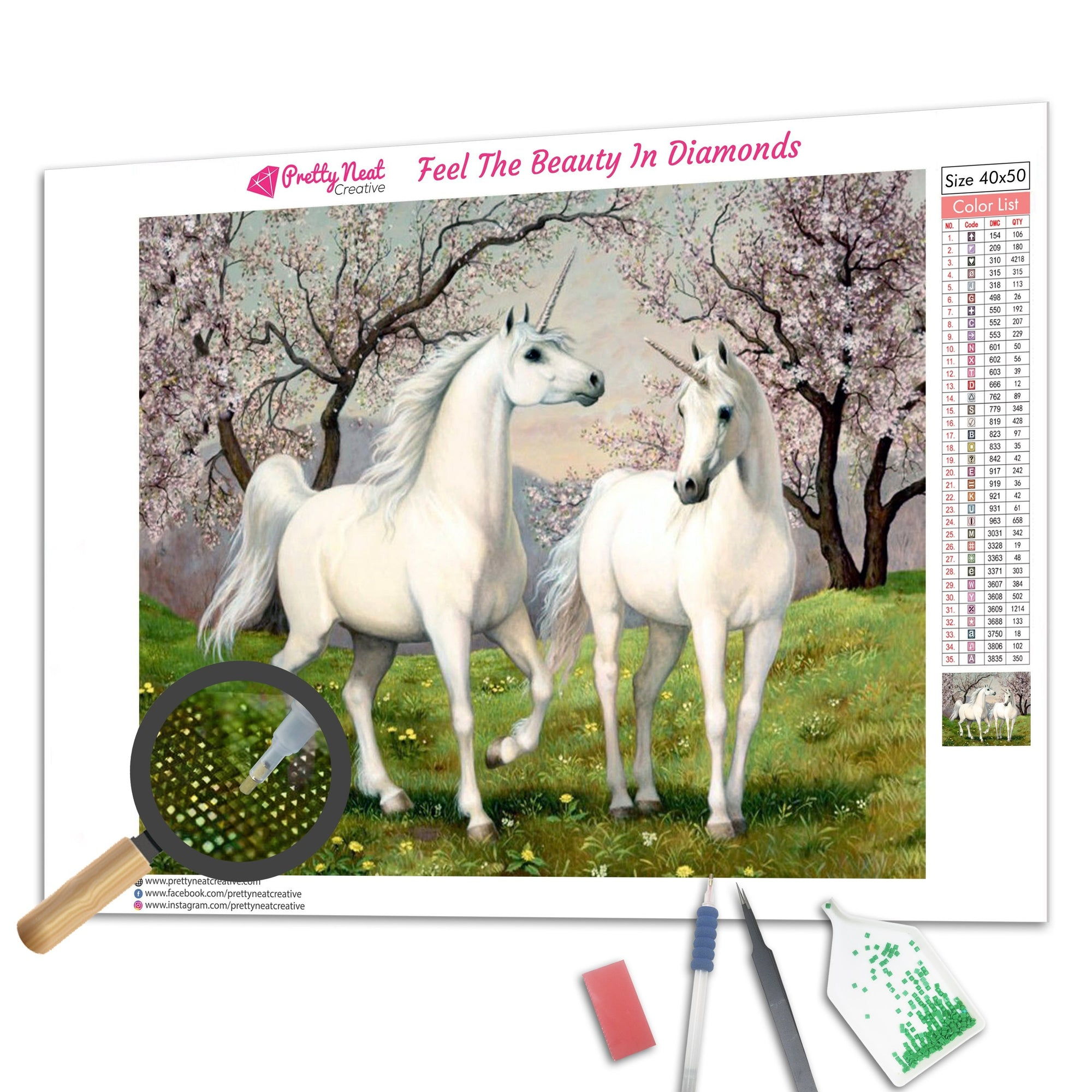 Two Unicorns Run Together Diamond Painting