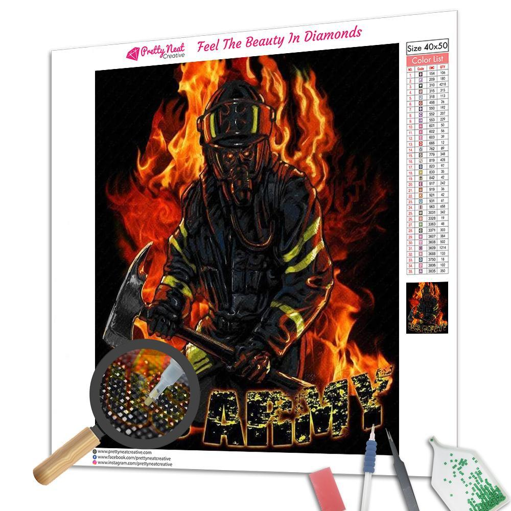 US Army Fire Fighter Hero Diamond Painting