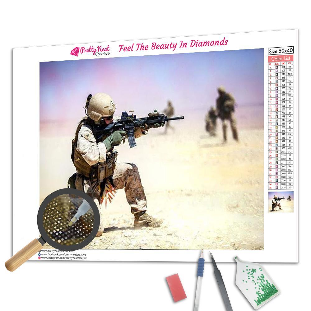 US Army Soldier Desert Diamond Painting