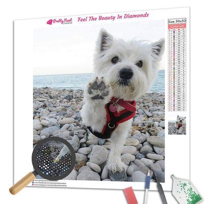 Westie:Give Me Five Square Diamond Painting