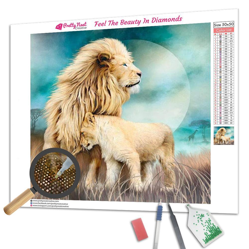 White Lion Family Diamond Painting