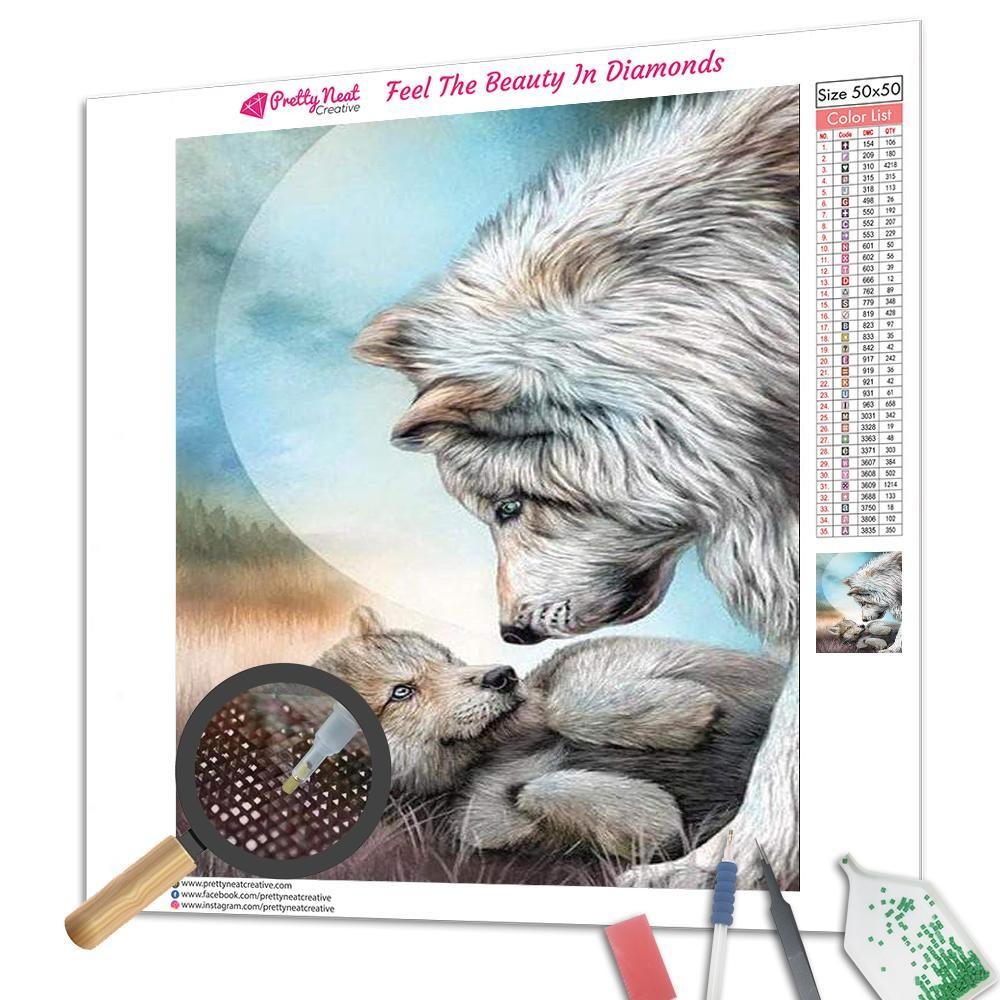 White Wolf's Mothering Diamond Painting