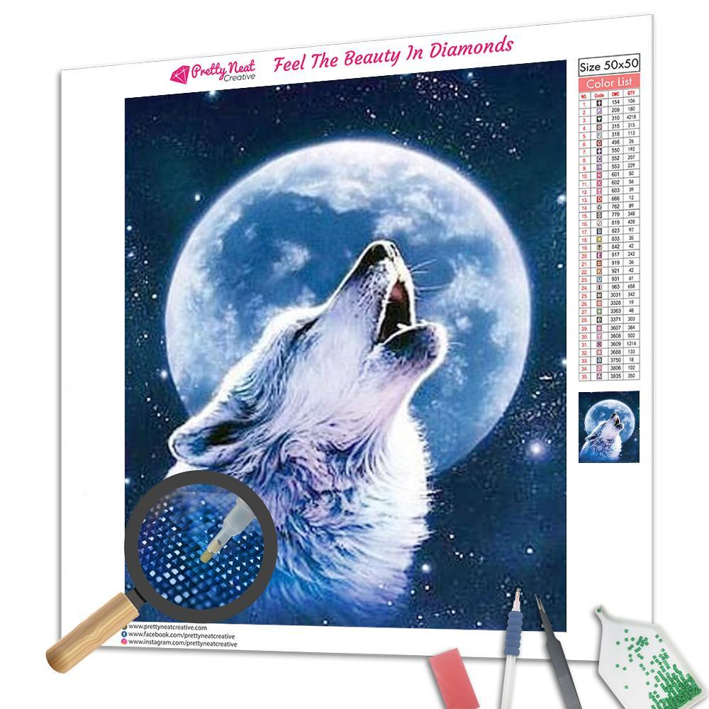 Wolf and Moon 5D Square Diamond Painting