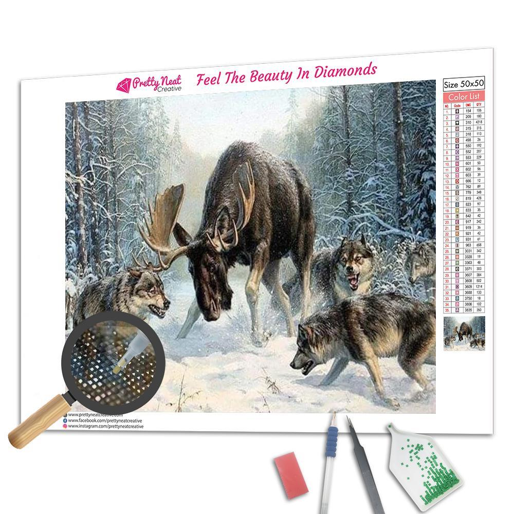 Wolf and Moose Square Diamond Painting