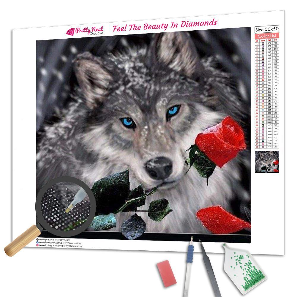 Wolf and Red Rose Square Diamond Painting