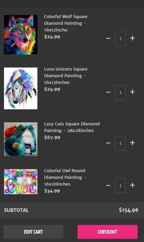 Step 1: Add 4 diamond paintings to your cart