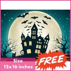 FREE Halloween Castle Square Diamond Painting Kit