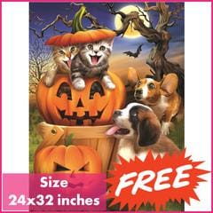 FREE Halloween Pets Square Diamond Painting Kit