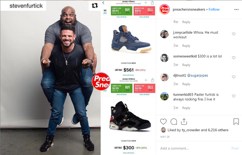 Steven Furtick and John Grey flexing their Jordan's together.