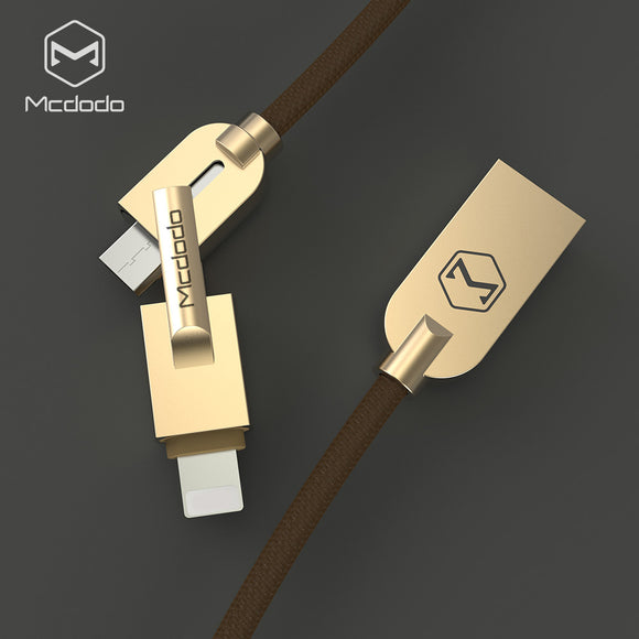 Mcdodo Linen Nylon Woven 2 in 1 Data Charging Cable Lightning & Micro USB Cable Fast Charging Data Sync for iPhone 6 6s 5s