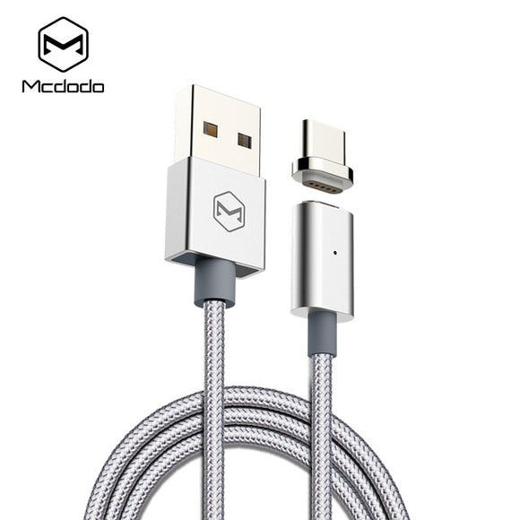 MCDODO 2.4a Fast Magnetic Charging Cable with LED Charge / Sync Indicating Light for Lightning to USB and Micro to USB Devices - Silver