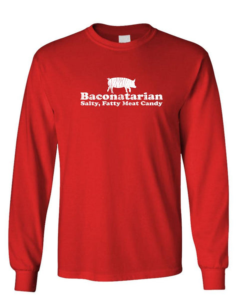 BACONOTARIAN - Salty Meat Candy - Unisex Cotton Long Sleeved T-Shirt (lstee)