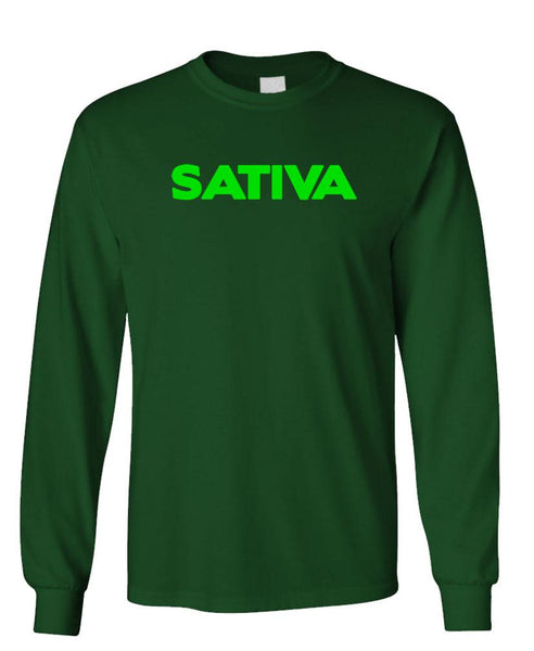 SATIVA - 420 marijuana drugs smoke - Unisex Cotton Long Sleeved T-Shirt (lstee)