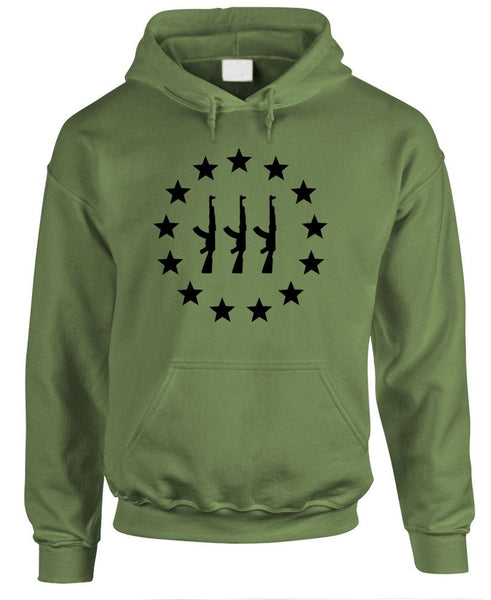 THREE PERCENTER AK-47 Star Circle - 2nd amendment gun rights - Fleece PULLOVER Hoodie (fleece)
