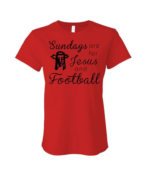 SUNDAYS ARE FOR JESUS AND FOOTBALL - Cotton LADIES T-Shirt (ladies)