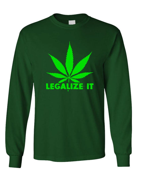 LEGALIZE IT - 420 marijuana drugs smoke - Unisex Cotton Long Sleeved T-Shirt (lstee)