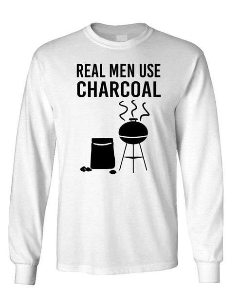 REAL MEN USE CHARCOAL - bbq grill - Unisex Cotton Long Sleeved T-Shirt (lstee)
