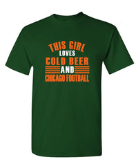 GIRL LOVES COLD BEER - Unisex Cotton T-Shirt Tee Shirt (tee)