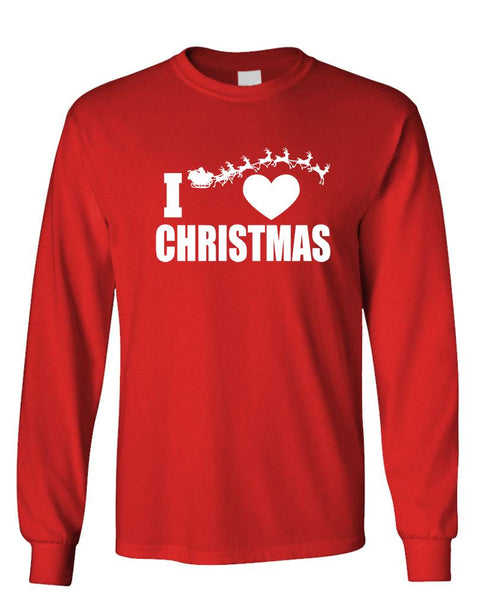 I HEART CHRISTMAS - Unisex Cotton Long Sleeved T-Shirt (lstee)