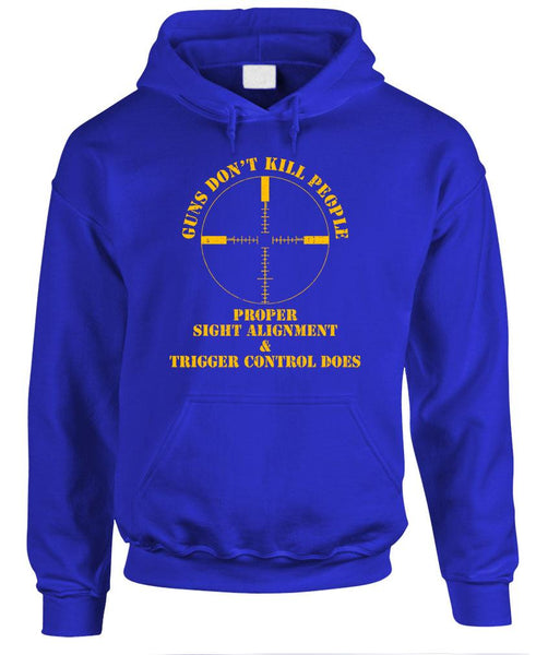 GUNS DON'T KILL PEOPLE PROPER AIM DOES - Fleece Pullover Hoodie (fleece)