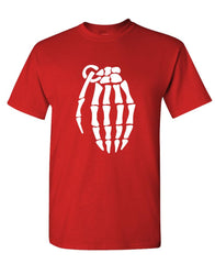 SKELETON GRENADE HAND halloween spooky cool - Cotton Unisex T-Shirt (tee)