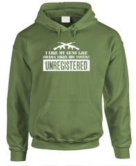 I like my GUNS how Obama Likes His Voters - UNREGISTERED - Fleece Pullover Hoodie (fleece)