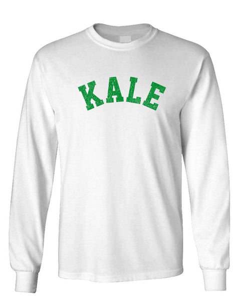 KALE - parody vegan vegetarian joke - Unisex Cotton Long Sleeved T-Shirt (lstee)