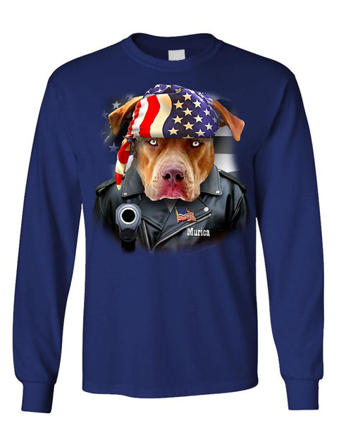 AMERICAN BIKER PIT BULL - Unisex Cotton Long Sleeved T-Shirt (lstee)
