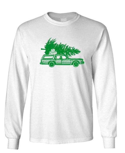 CHRISTMAS WAGON - Unisex Cotton Long Sleeved T-Shirt (lstee)