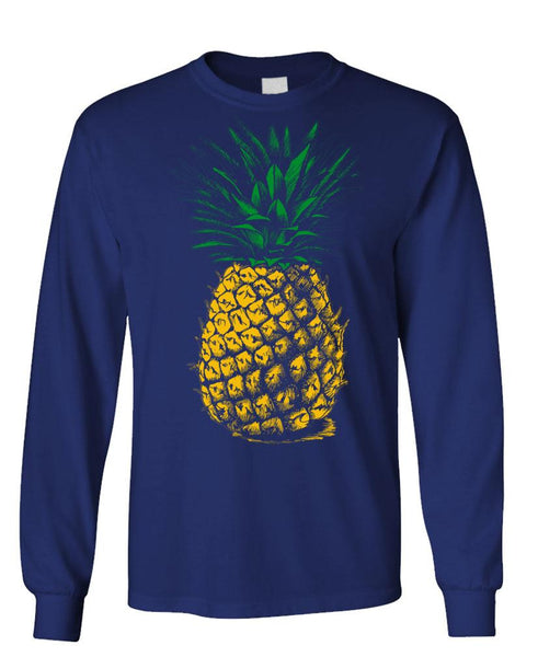 RETRO VINTAGE PINEAPPLE - Unisex Cotton Long Sleeved T-Shirt (lstee)