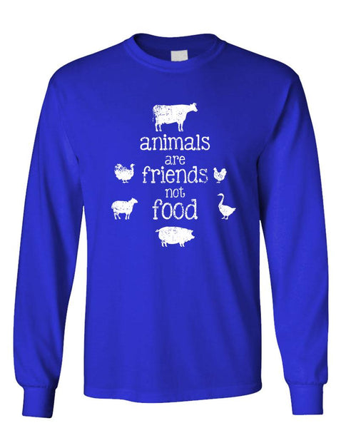 ANIMALS ARE FRIENDS NOT FOOD - Unisex Cotton Long Sleeved T-Shirt (lstee)