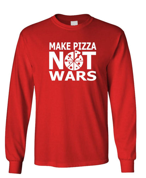 MAKE PIZZA NOT WARS - Unisex Cotton Long Sleeved T-Shirt (lstee)