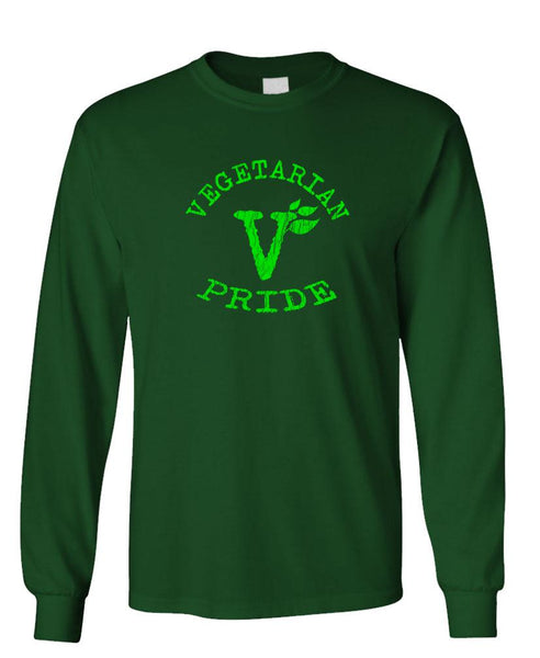 VEGETARIAN PRIDE - Unisex Cotton Long Sleeved T-Shirt (lstee)