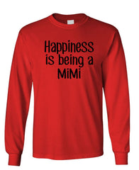 HAPPINESS IS BEING A MIMI - Unisex Cotton Long Sleeved T-Shirt (lstee)