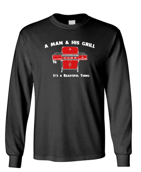 A MAN AND HIS GRILL - Unisex Cotton Long Sleeved T-Shirt (lstee)