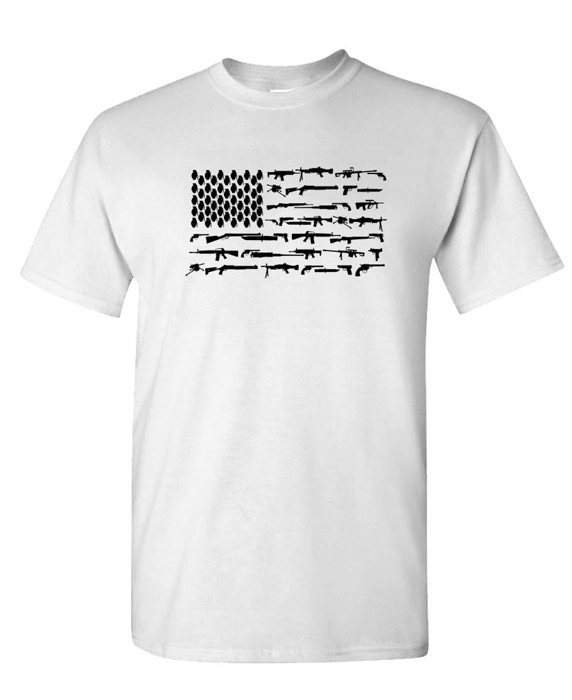 FIREARMS AMERICAN FLAG - Unisex Cotton T-Shirt Tee Shirt (tee)