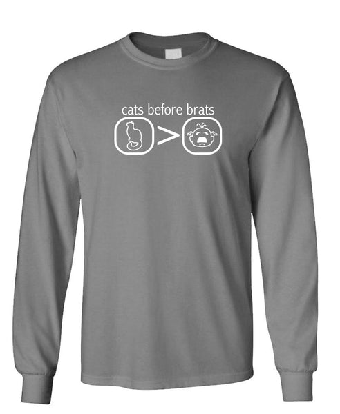 CATS BEFORE BRATS - Unisex Cotton Long Sleeved T-Shirt (lstee)