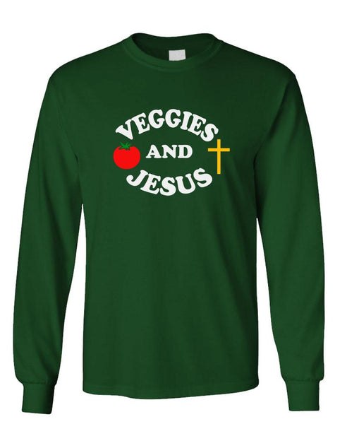 VEGGIES AND JESUS - Unisex Cotton Long Sleeved T-Shirt (lstee)