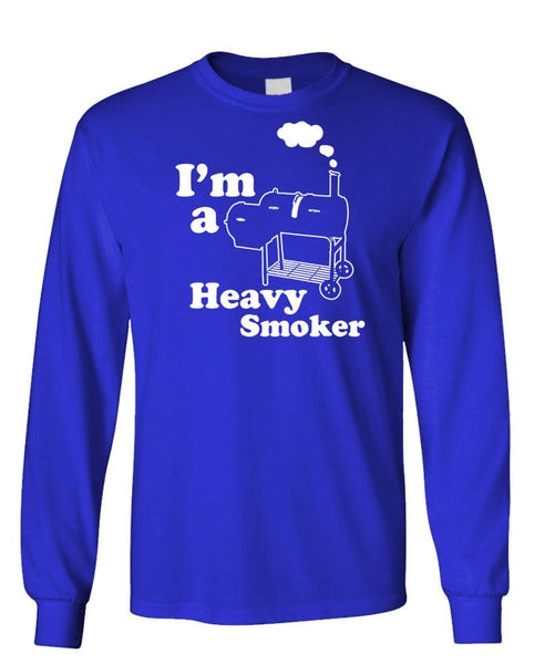 I'M A HEAVY SMOKER - bbq barbecue - Unisex Cotton Long Sleeved T-Shirt (lstee)