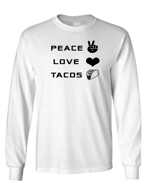 PEACE LOVE AND TACOS - Unisex Cotton Long Sleeved T-Shirt (lstee)